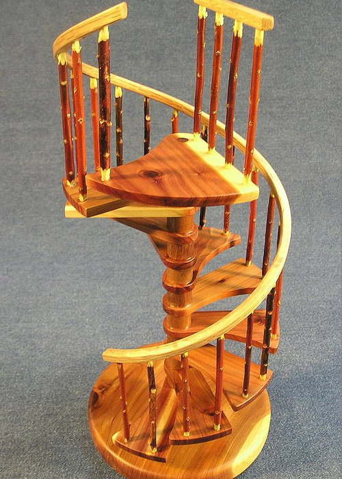 Architecture Greeting Card featuring the sculpture Red Cedar Rustic Spiral Stairs by Don Lorenzen