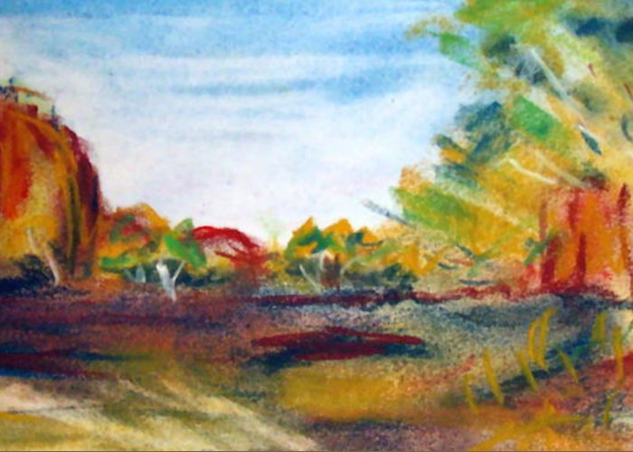 Central Australia Greeting Card featuring the painting Red Centre by Jacqui Mckinnon