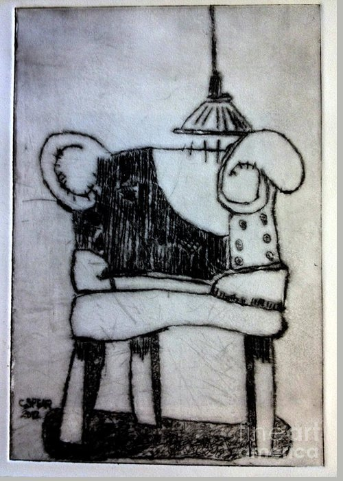 Drypoint Greeting Card featuring the painting Red Chair Of Reading Edition Of 12 by Charlie Spear