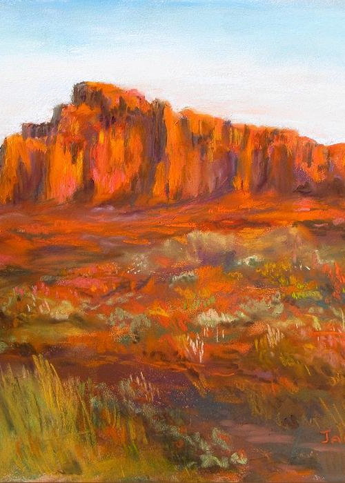 Red Cliffs Greeting Card featuring the painting Red Cliffs by Jack Skinner