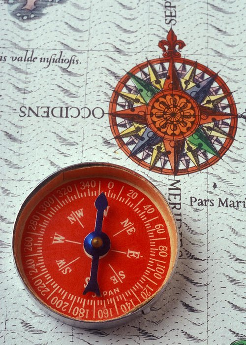 Red Compass Greeting Card featuring the photograph Red Compass And Rose Compass by Garry Gay