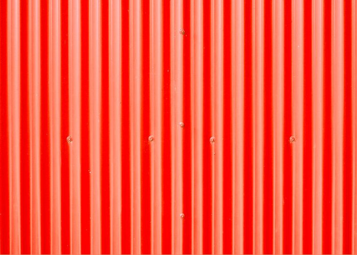 Abstract Greeting Card featuring the photograph Red Corrugated Metal by Tom Gowanlock
