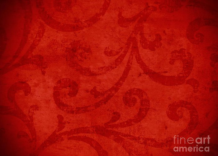 Backdrop Greeting Card featuring the tapestry - textile Red Crispy Oriental Style Decor For Fine Design. by Marta Mirecka