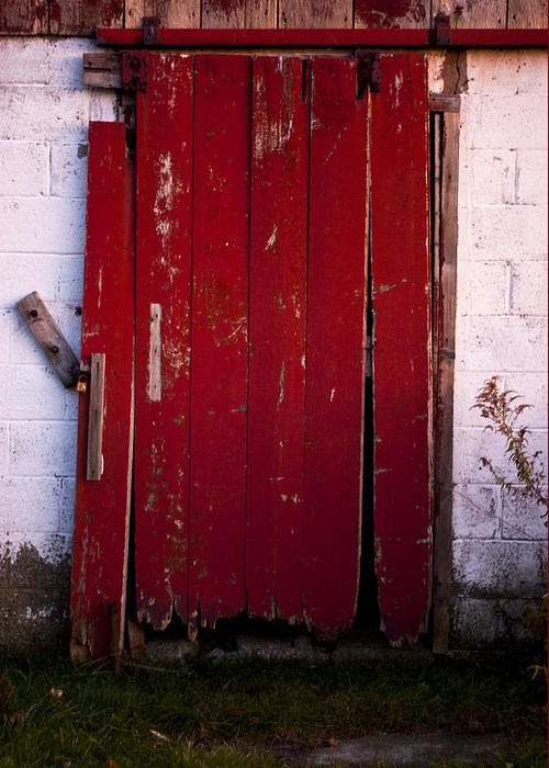 Farm Greeting Card featuring the photograph Red Door by Cale Best