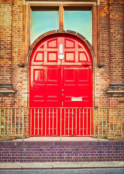 Arch Greeting Card featuring the photograph Red Door by Tom Gowanlock
