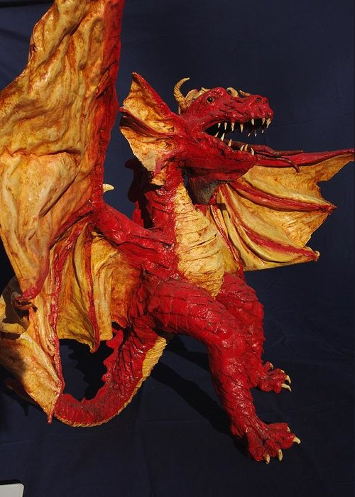 Dragons Greeting Card featuring the sculpture Red Dragon by Rick Ahlvers