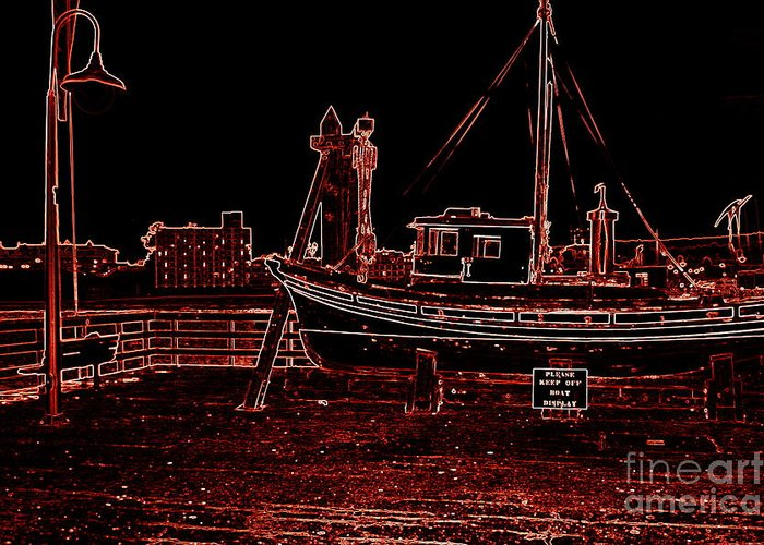 Red Greeting Card featuring the photograph Red Electric Neon Boat On Sc Wharf by Garnett Jaeger