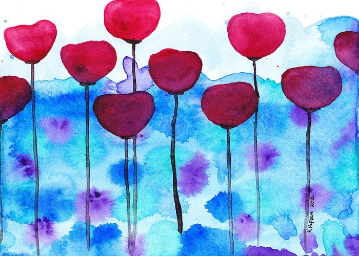 Pappert Greeting Card featuring the painting Red Flowers Watercolor Painting by Karen Pappert