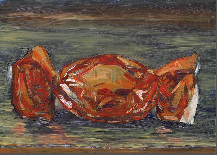 Still Life Greeting Card featuring the painting Red Foil by Scott Bennett