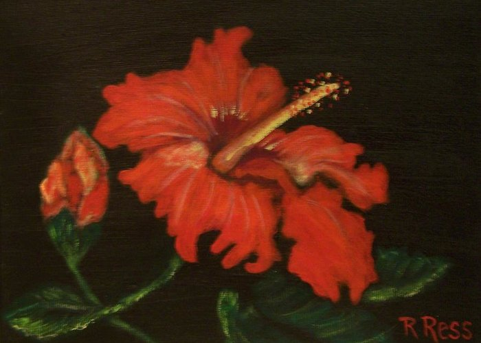 Red Greeting Card featuring the painting Red Hibiscus by Roberta Ress