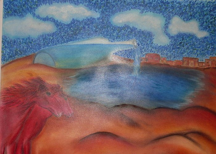 Surrealism Greeting Card featuring the pastel Red Horses by Saeed Ghassemlou
