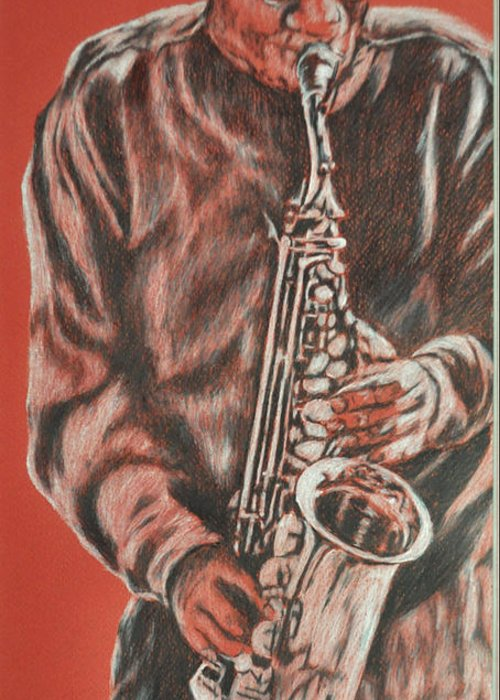 Music Greeting Card featuring the painting Red Hot Sax by Norma Gafford