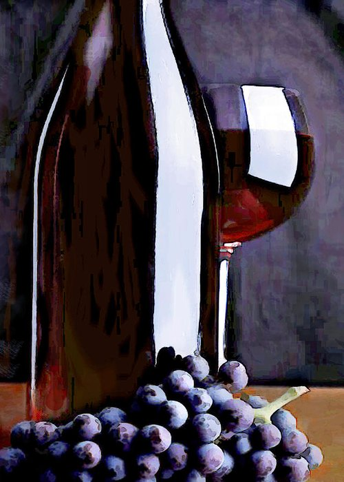 Wine Greeting Card featuring the painting Red In The Shadows by Elaine Plesser