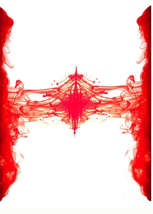 Abstract Greeting Card featuring the photograph Red Ink Abstract by Richard Thomas