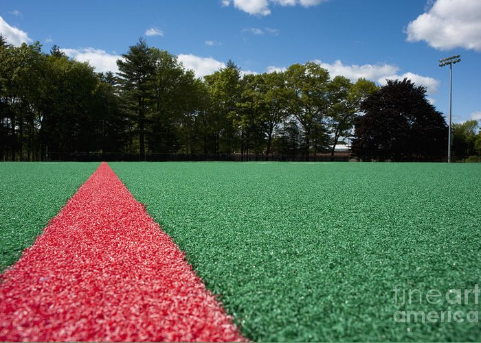 Artificial Grass Greeting Card featuring the photograph Red Line On An Athletic Field by Sam Bloomberg-rissman