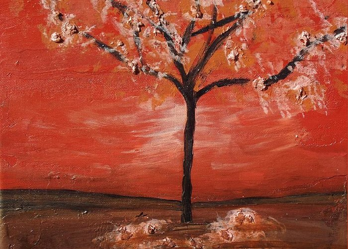 Tree Greeting Card featuring the painting Red by Megan Miller