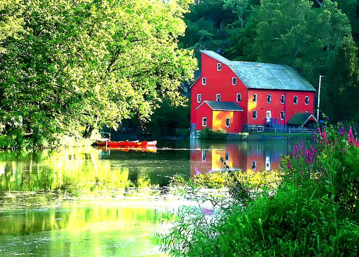 Agriculture Greeting Card featuring the photograph Red Mill On The Lake by Artistic Photos
