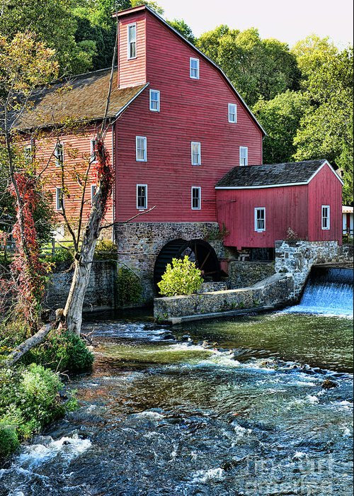 Paul Ward Greeting Card featuring the photograph Red Mill On The Water by Paul Ward