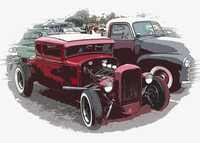 Model A Greeting Card featuring the photograph Red Model A Coupe by Steve McKinzie