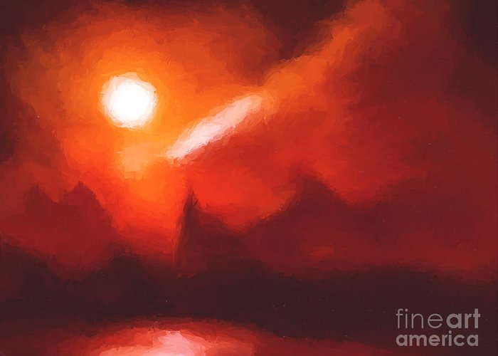 Mountains Greeting Card featuring the painting Red Mountains by Pixel Chimp
