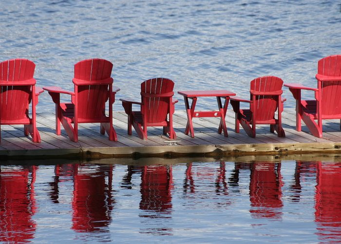Muskoka Greeting Card featuring the photograph Red Muskoka Chairs by Dr Carolyn Reinhart