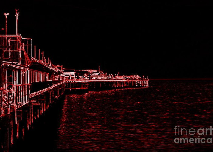 Red Greeting Card featuring the photograph Red Neon Wharf by Garnett Jaeger