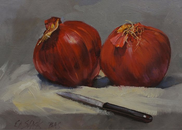 Onions Greeting Card featuring the painting Red Onions by Ed Slack