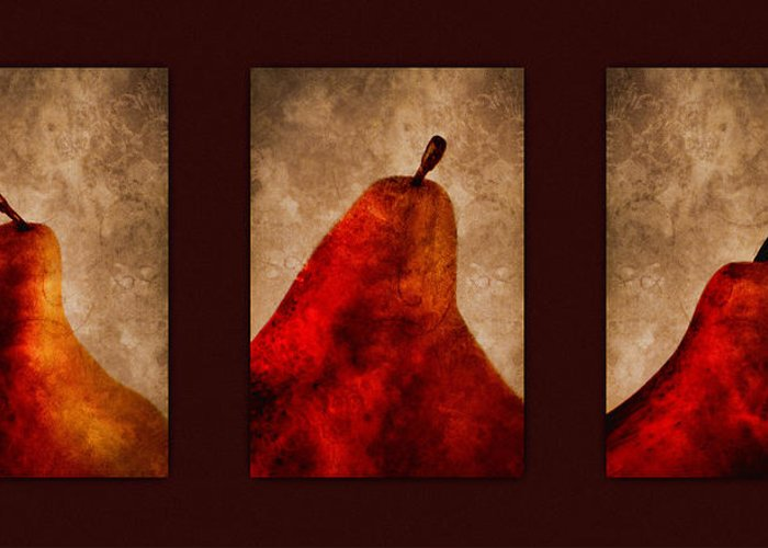 Pear Greeting Card featuring the photograph Red Pear Triptych by Carol Leigh