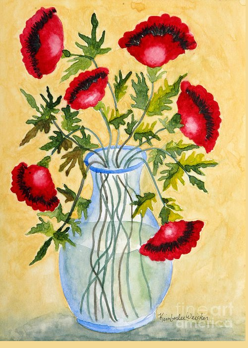 Poppies Greeting Card featuring the painting Red Poppies In A Vase by Kimberlee Weisker