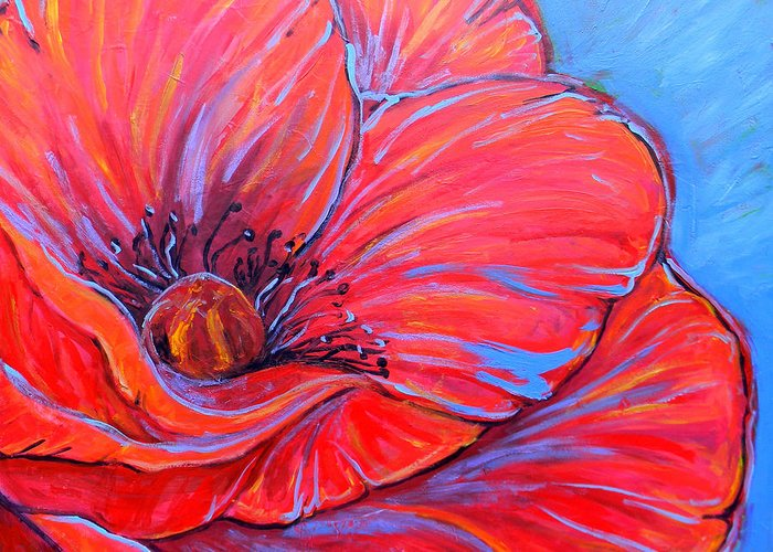 Red Greeting Card featuring the painting Red Poppy by Jenn Cunningham