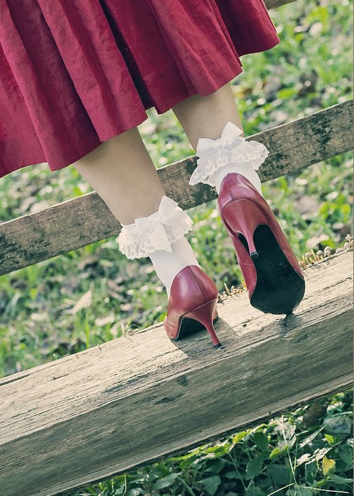 Female Greeting Card featuring the photograph Red Pumps by Joana Kruse