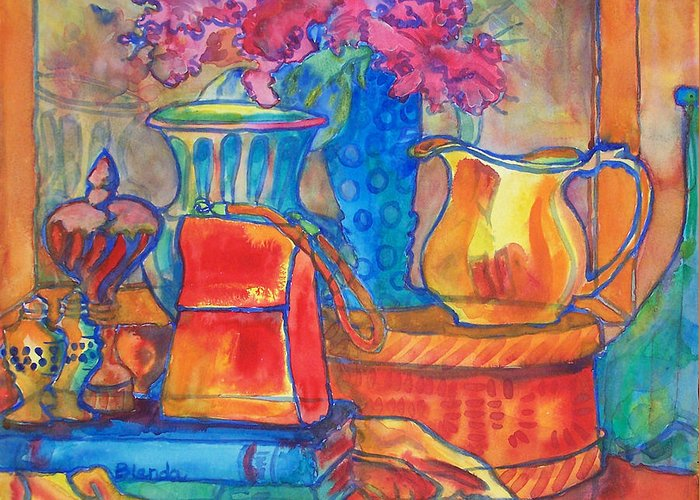 American Greeting Card featuring the painting Red Purse And Blue Line by Blenda Studio