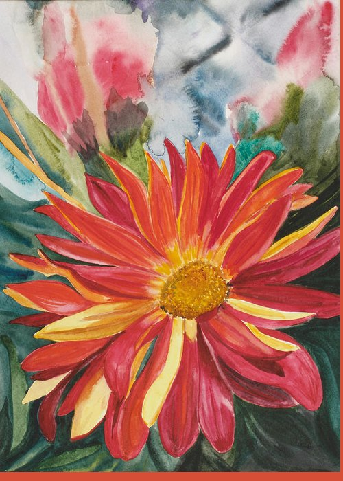 Flower Greeting Card featuring the painting Red Red Red by Judy Loper