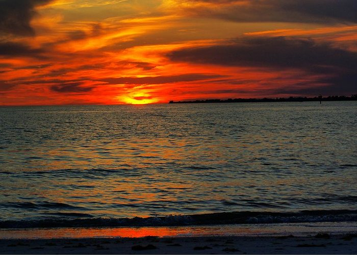 Sunset Greeting Card featuring the photograph Red Reflections by Florene Welebny