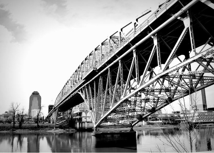 Greeting Card featuring the photograph Red River Bridge Black And White by Jennifer Hamrick