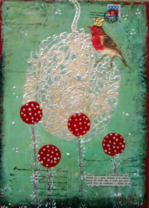 Landscape Contemporary Mixed Media On Canvas Greeting Card featuring the mixed media Red Robin by Jo Roffe