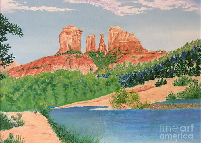 Aimee Mouw Greeting Card featuring the painting Red Rock Crossing by Aimee Mouw