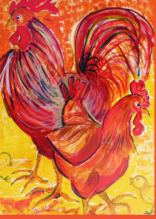 Rooster Greeting Card featuring the painting Red Rooster Red Hen by Suzanne Willis