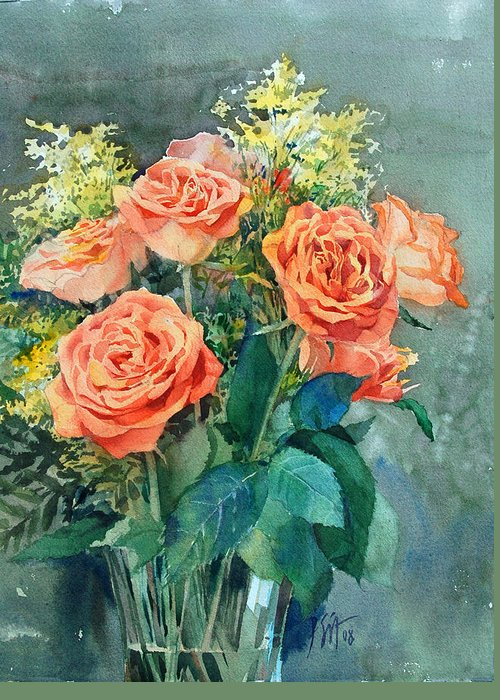 Peter Sit Watercolor Greeting Card featuring the painting Red Roses by Peter Sit