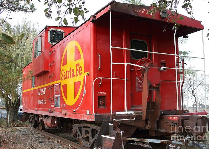 Transportation Greeting Card featuring the photograph Red Sante Fe Caboose Train . 7d10332 by Wingsdomain Art and Photography
