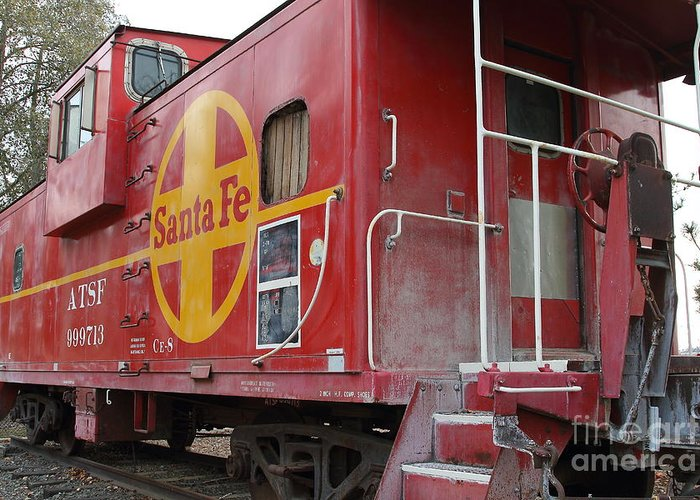 Transportation Greeting Card featuring the photograph Red Sante Fe Caboose Train . 7d10334 by Wingsdomain Art and Photography