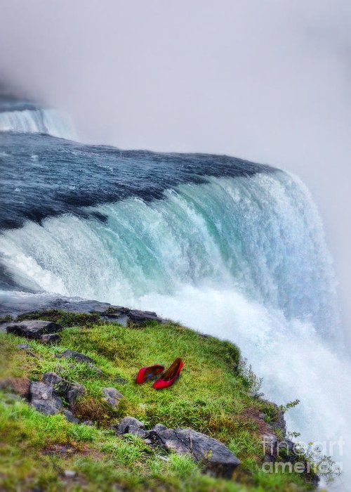 River Greeting Card featuring the photograph Red Shoes Left By The Falls by Jill Battaglia