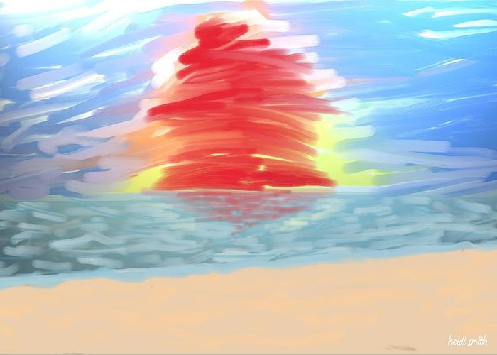 Digital Painting Greeting Card featuring the photograph Red Sun Setting by Heidi Smith