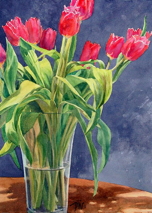 Peter Sit Watercolor Greeting Card featuring the painting Red Tulips by Peter Sit