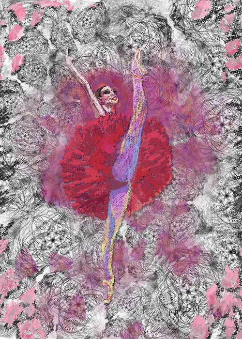Dance Greeting Card featuring the digital art Red Tutu by Cynthia Sorensen