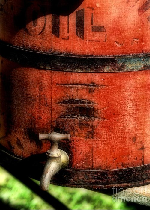 Weathered Red Oil Bucket Greeting Card featuring the photograph Red Weathered Wooden Bucket by Paul Ward