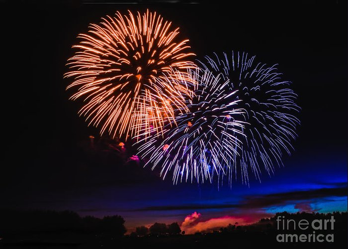 Fireworks Greeting Card featuring the photograph Red White And Blue by Robert Bales