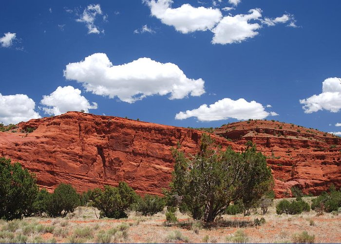 Red Rock Greeting Card featuring the photograph Red White And Blue by Vicki Coover