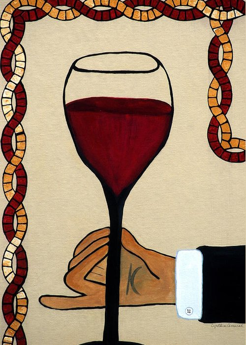Red Wine Greeting Card featuring the painting Red Wine Glass by Cynthia Amaral