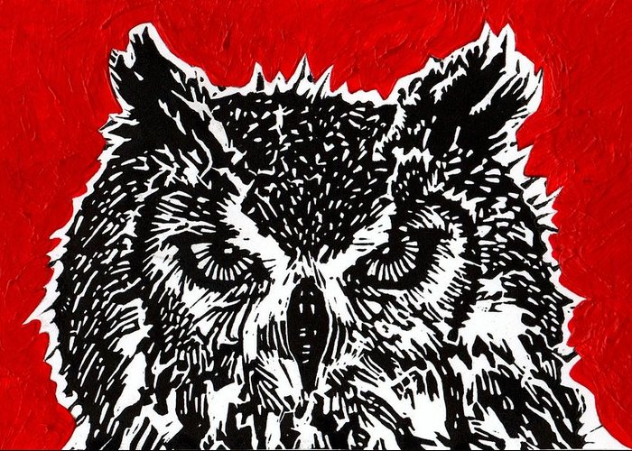 Owl Greeting Card featuring the painting Redder Hotter Eagle Owl by Julia Forsyth